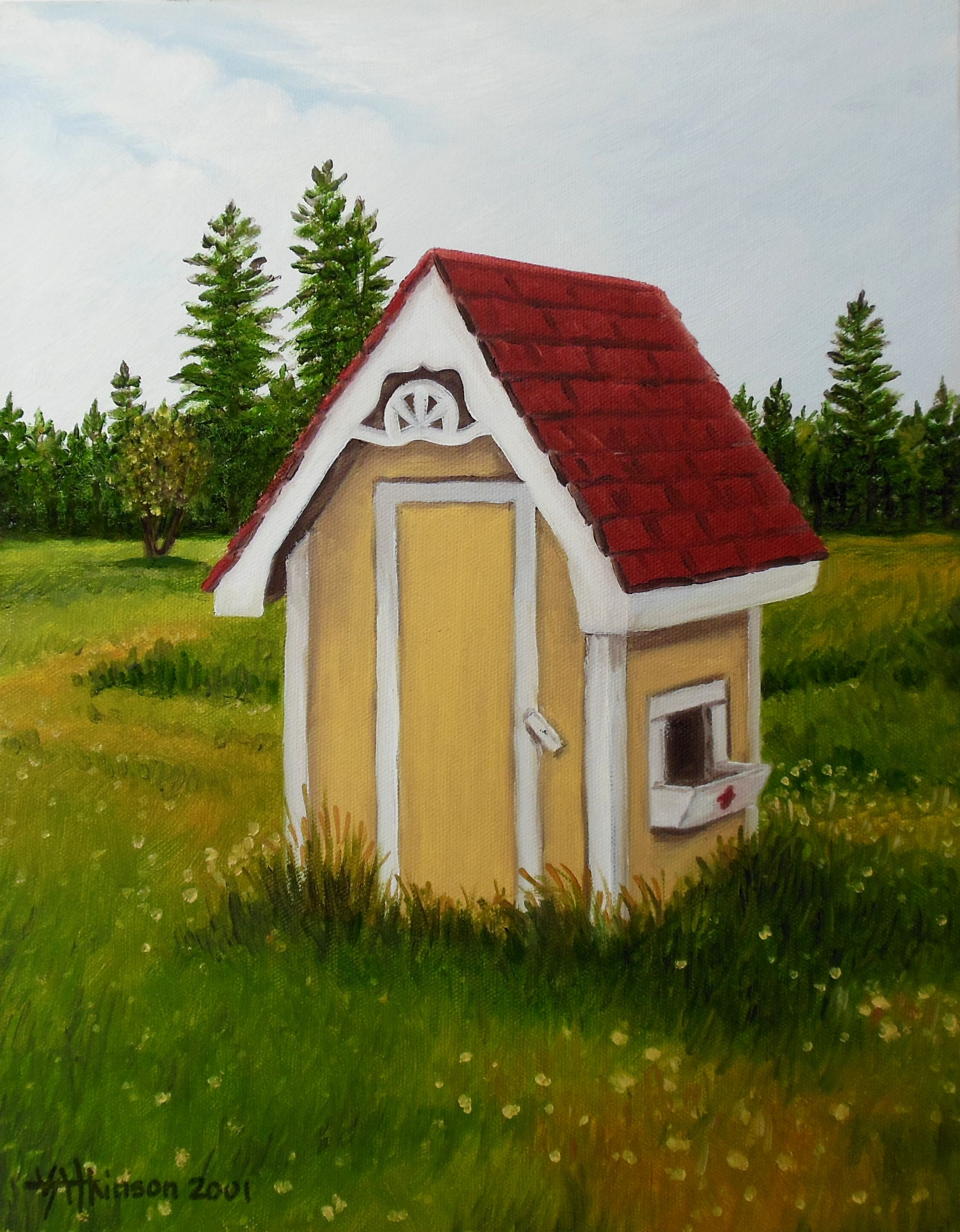 """Yellow Outhouse, Hecla Island, V. Atkinson, 2001, oil on canvas, 11""""x14""""."""