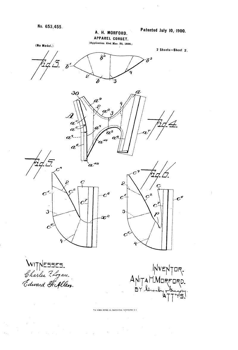 1900 Patent US653455 - APPAREL-CORSET - Google Patents | Edwardian ...