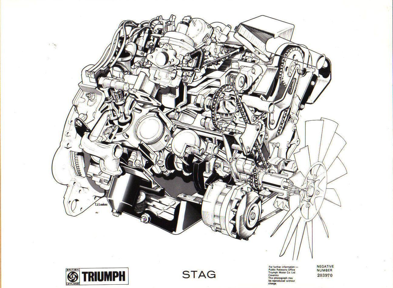 Triumph Stag original black & white Press Photograph of the engine No.  203970 | eBay