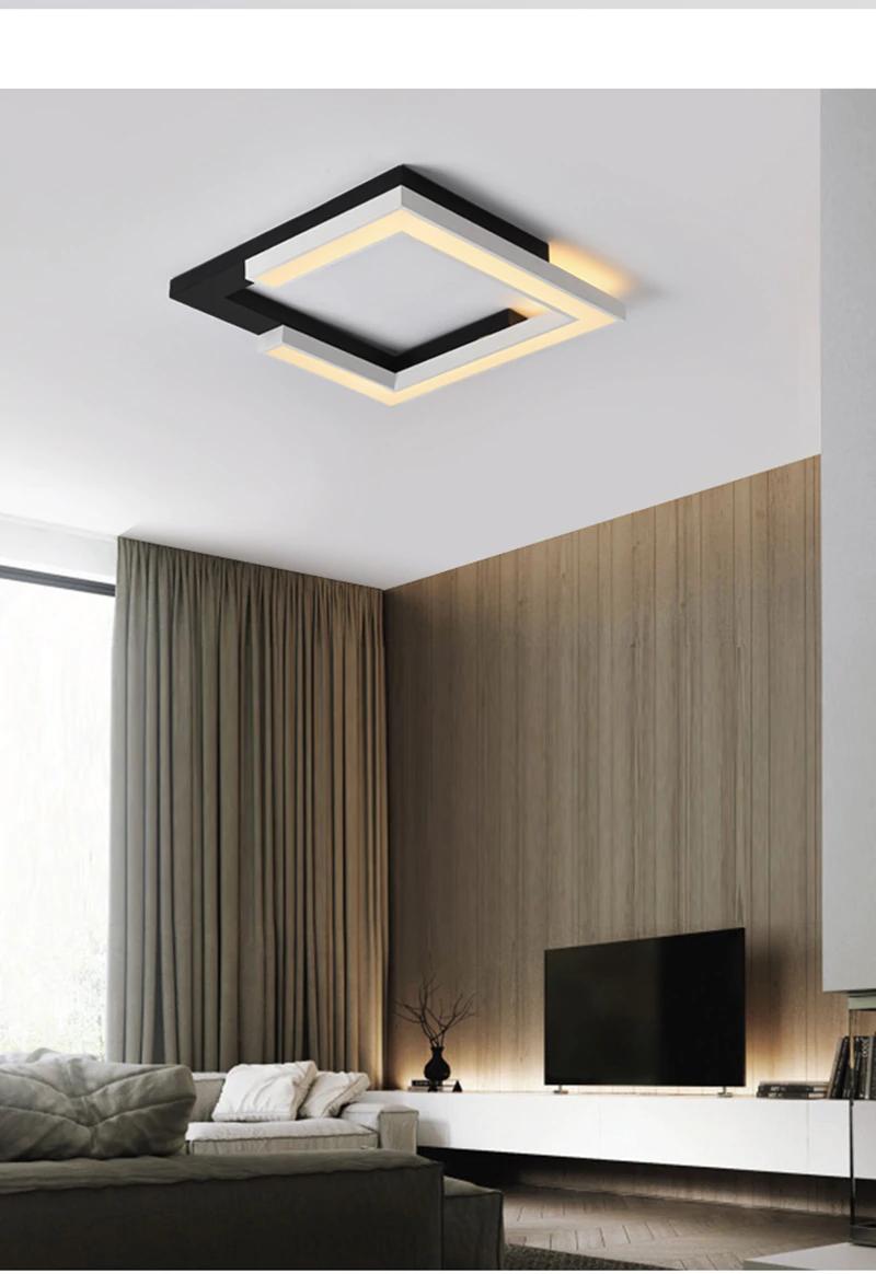 Square White+Black Ceiling Lights for Living bed Room