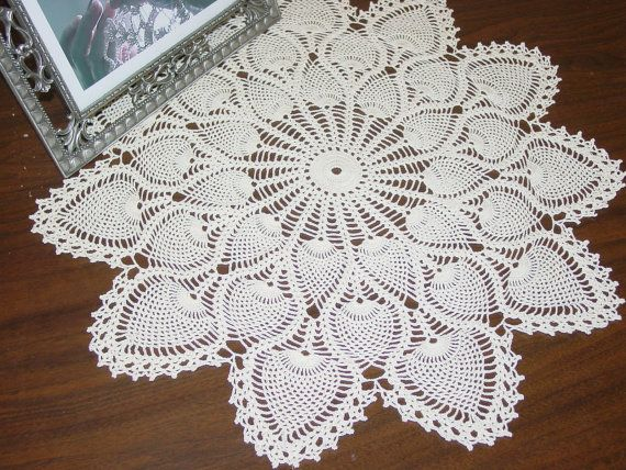 Vintage Style Fine Thread Crocheted Pineapple Doily For The Home