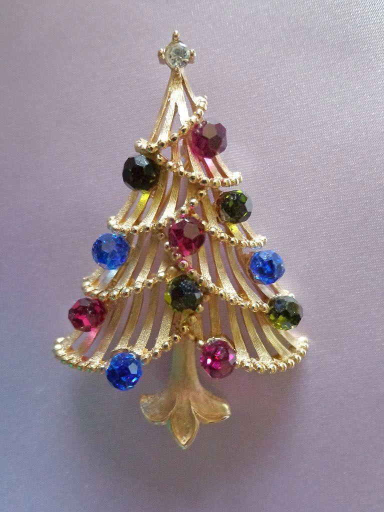 Vintage 60 S Crown Trifari Christmas Tree Jewelry Christmas Tree Glitter Christmas Christmas Jewelry