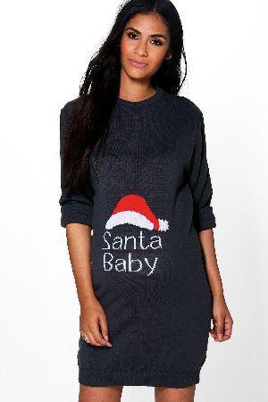 boohoo Jenny Santa Baby Christmas Dress - grey BZZ49901 Maternity ...