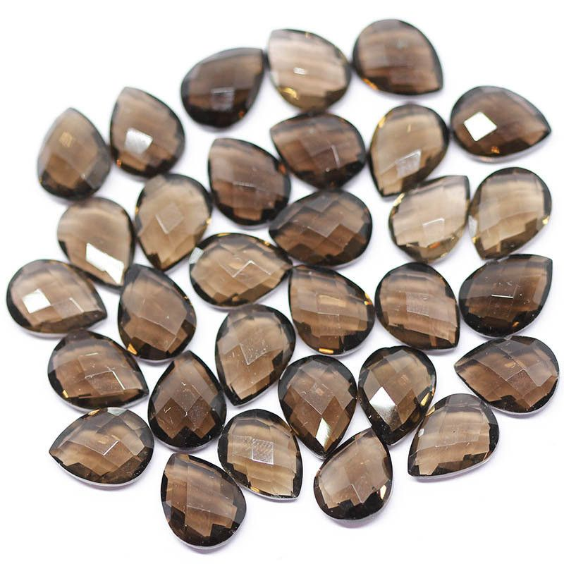 Smoky Quartz Faceted Pear Drop Briolette Beads, 3 pair – Jewels Exports