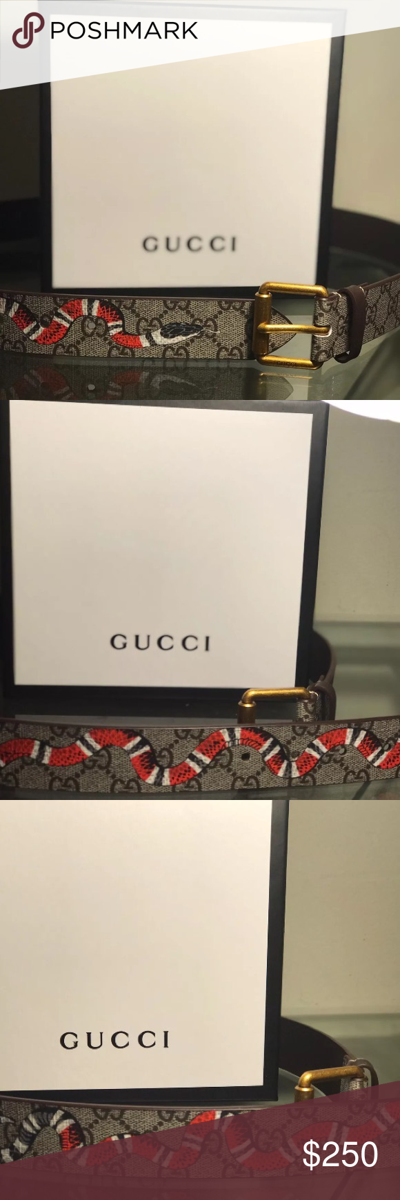 Authentic Gucci Snake Print GG Supreme belt New with tags, if you need to know more following information about the belt, just contact me :) Gucci Accessories Belts