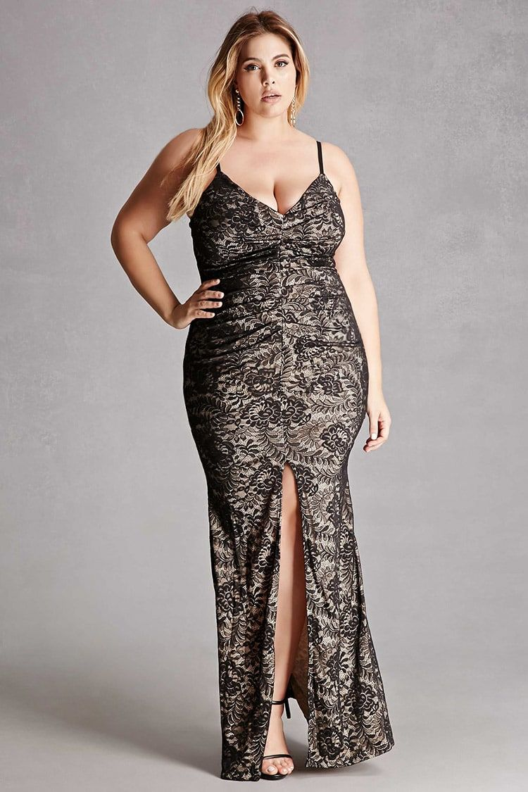 Forever a knit lace maxi dress featuring a deep vneckline