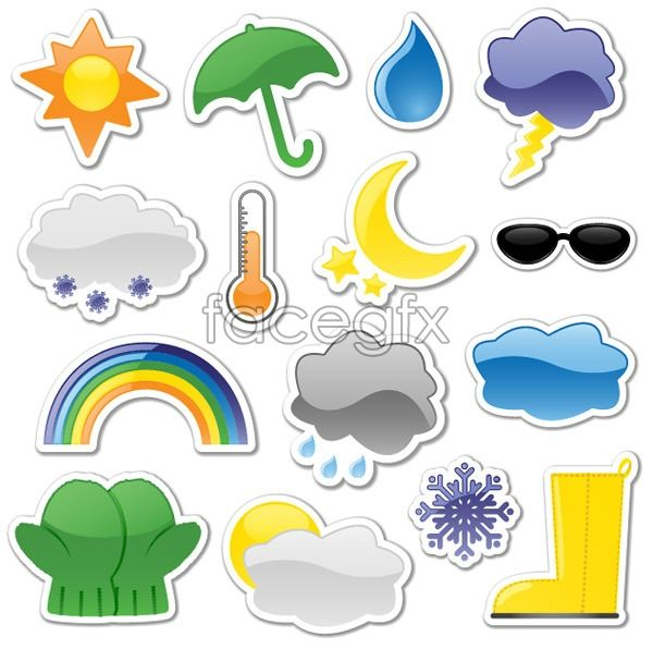 Stickers on the weather icon vector