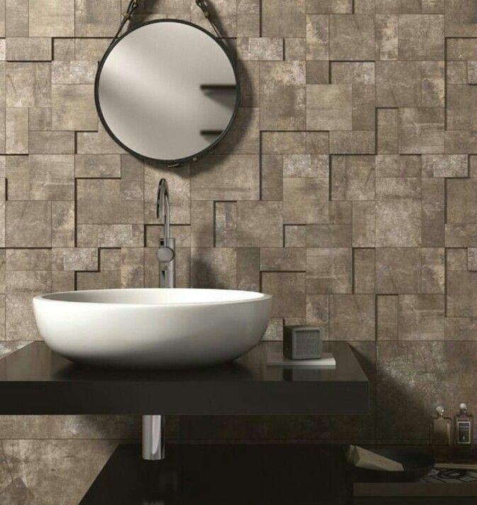 Geometric Textured Wall Stone Wall Cladding Round Mirror Bathroom Wall Cladding