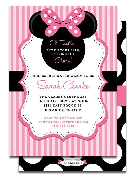 Printable Minnie Mouse Baby Shower Invitation Party Minnie Mouse