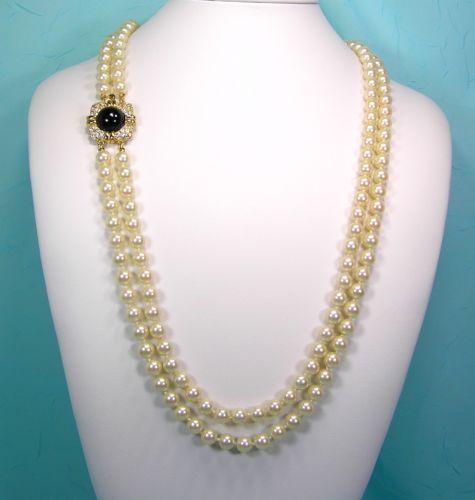 "Joan Rivers 30"" Simulated Pearl Necklace Black Cabochon Clasp 2 Strands #hiddencitytreasures"