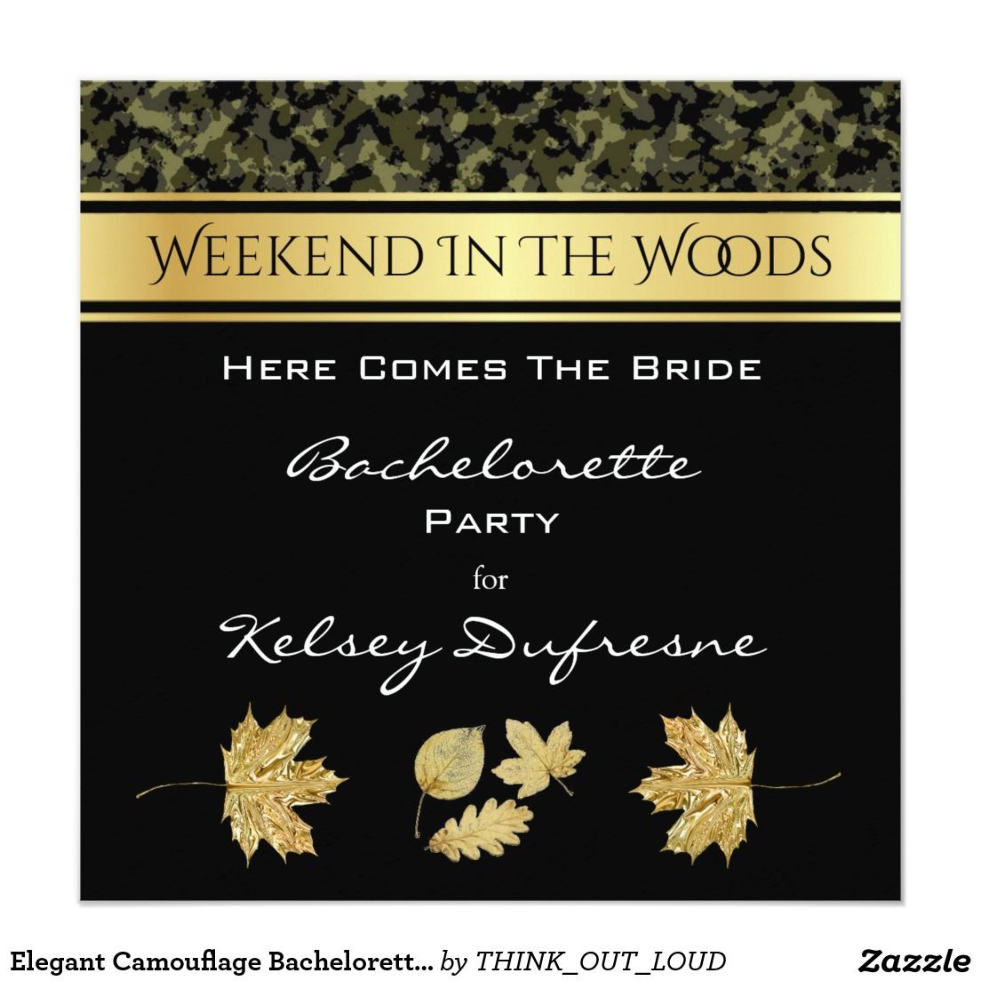 Classy Camo Wedding Ideas: Elegant Camouflage Bachelorette Weekend Invitation