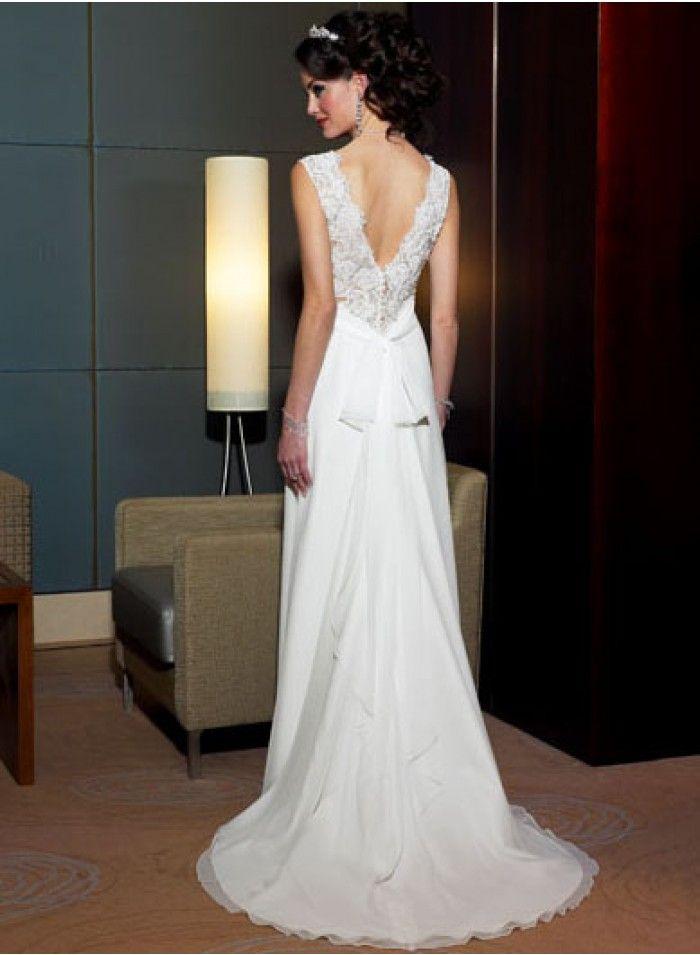 Latest Wedding Dresses | Discount Wedding Dresses | A-line V-neck Lace Empire Floor-length Sweep-train Chapel train Wedding Dresses WE2001