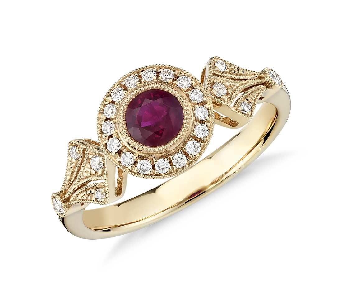Ruby and Diamond Halo Vintage-Inspired Milgrain Ring in 14k Yellow ...