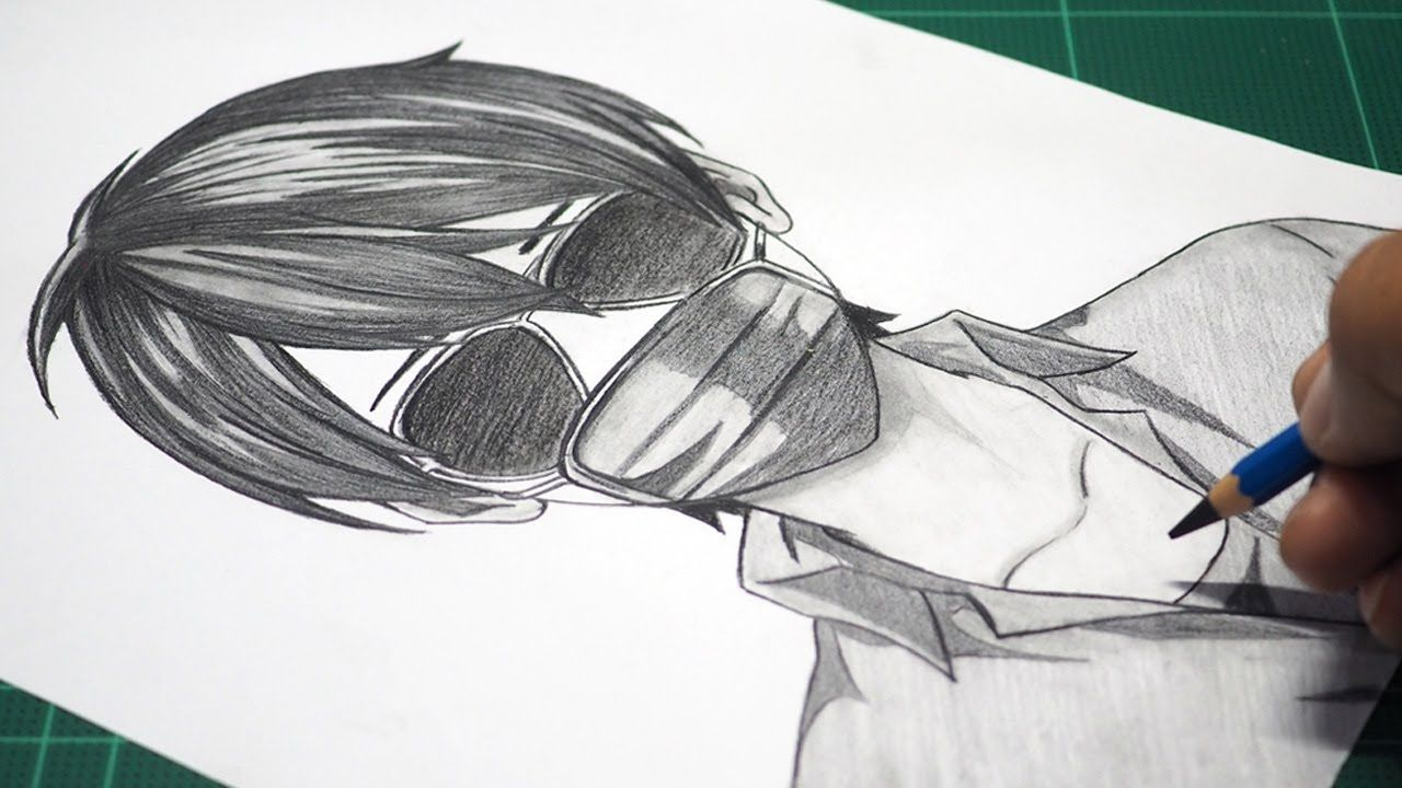 How To Draw Anime With Mask Realistic Anime Drawing Anime Drawing Tu Anime Drawings Drawing Tutorials For Beginners Anime Drawings For Beginners