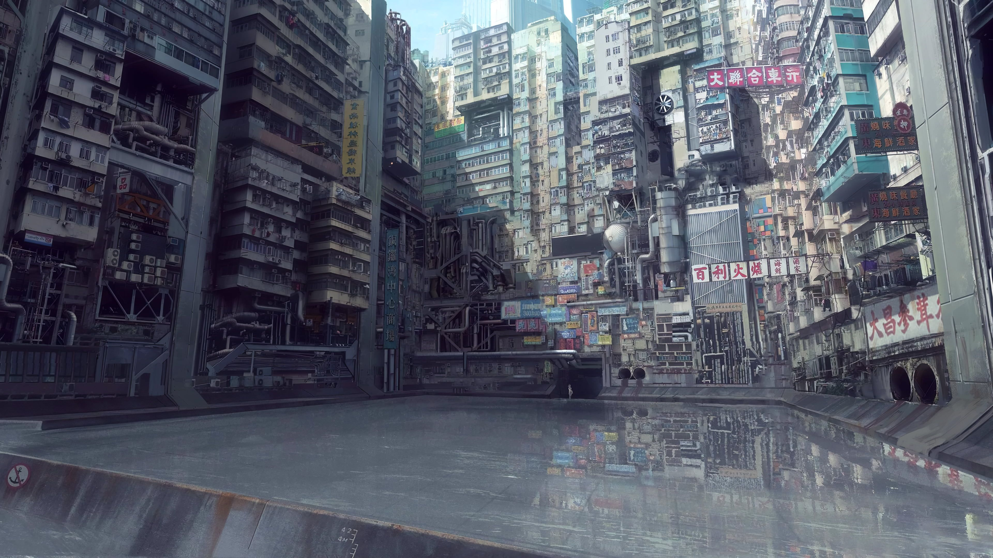 Ghost In The Shell Digital Art Urban City Water Anime Japan