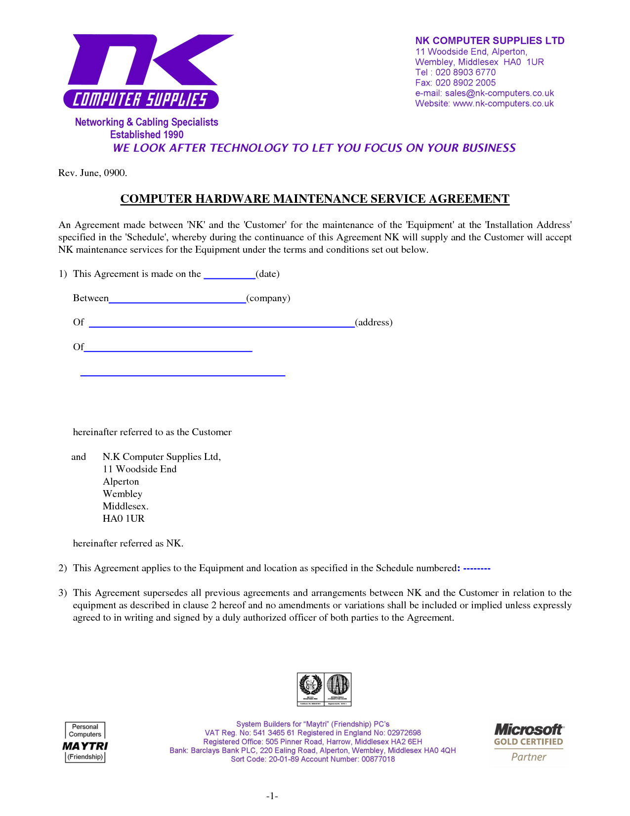 Computer Support Computer Support Agreement Sample  Software