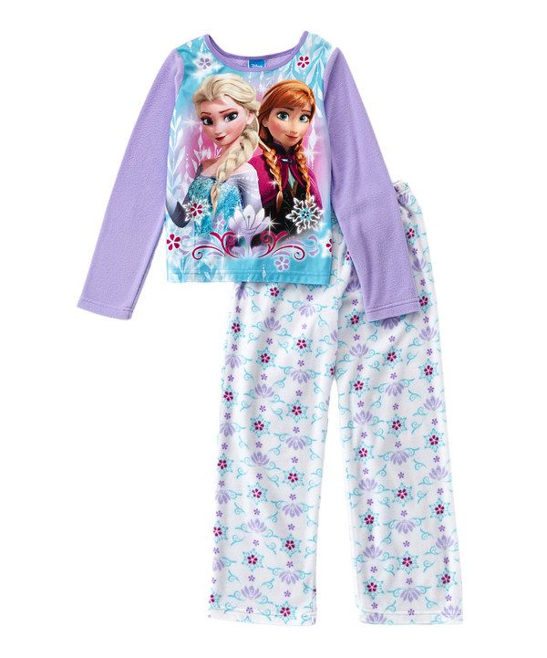 Look at this Frozen Elsa & Anna Lavender Microfleece Pajama Set - Girls on #zulily today!