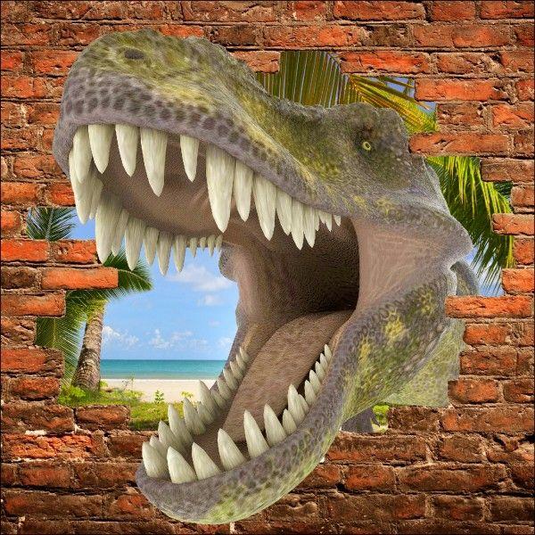 Sticker mural trompe l 39 oeil dinosaure tyrex deco - Trompe l oeil chambre ...