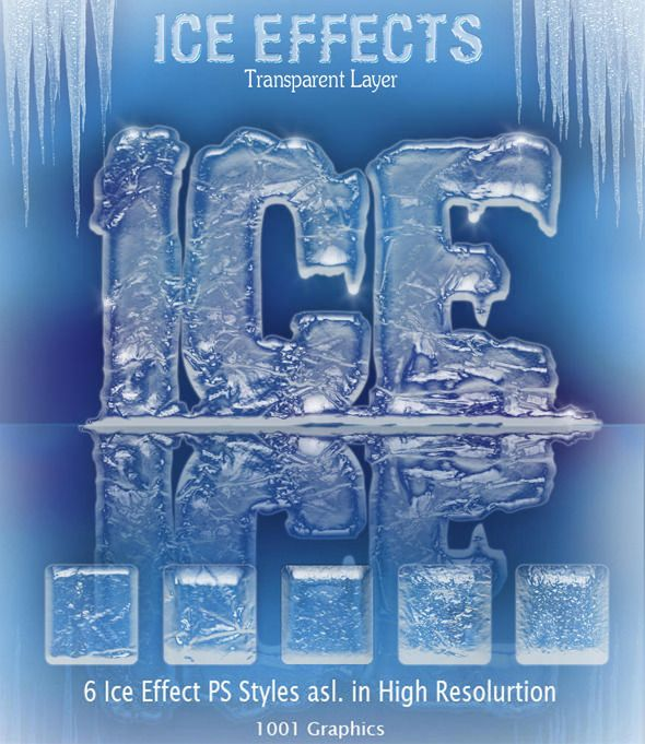 3D Ice Effect PS Styles - Photoshop Add-ons | Christmas