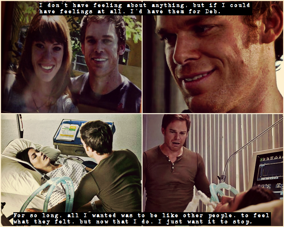 Dexter S Journey To Become Human Over 8 Seasons Described In Two Quotes Top Season 1 Episode 1 Bottom Season 8 Episode 12