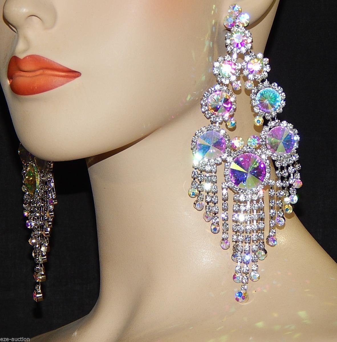Ab Giant 6 Inch Rhinestone Chandelier Earrings Bridal Earrings