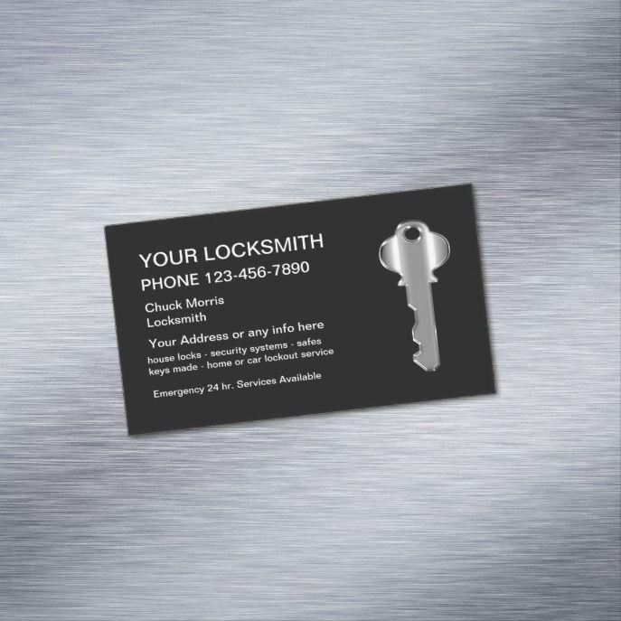 Modern Locksmith Silver Key Business Card Magnet Zazzle Com Magnetic Business Cards Locksmith Business Card Design