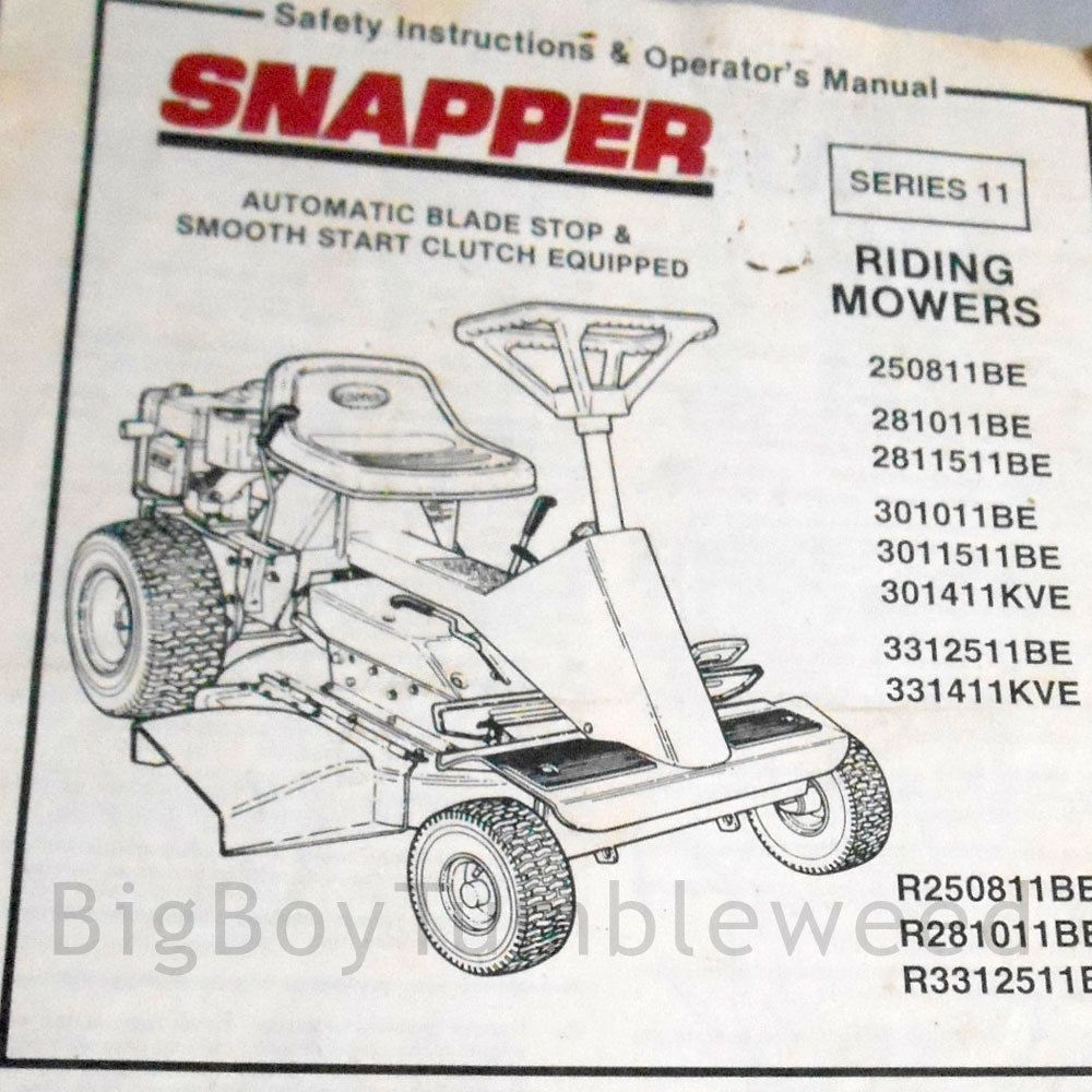 VINTAGE OWNERS MANUAL 1991 Snapper riding lawn mower BE KVE parts guide  booklet #Snapper