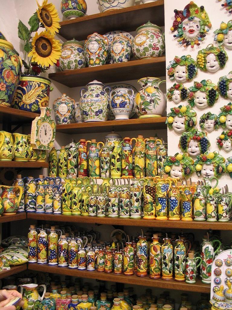 Pottery Shop In San Gimignano Tuscany Italy By