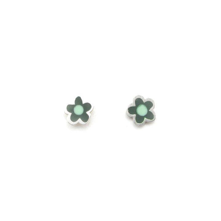 Sterling Silver Flower Stud Earrings (hand pigmented)