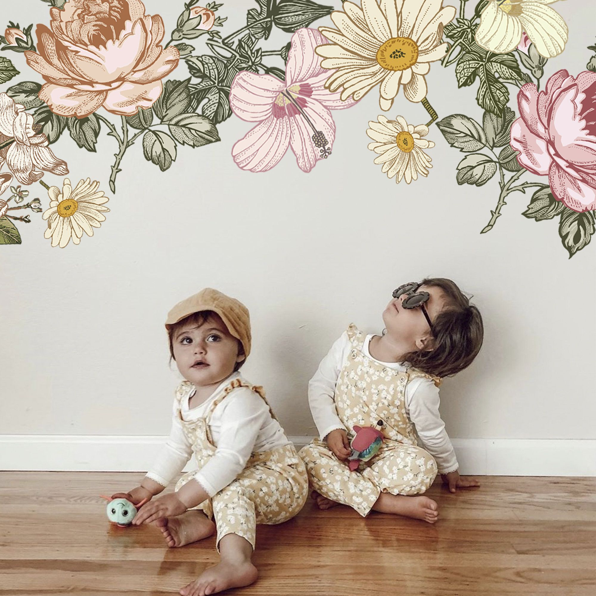 Flower Wall Decal Flowers Wall Decals Flowers Decal Peony Floral Wall Decals Peel Stick Flowers Vintage Nursery Peony Floral Wall Decals