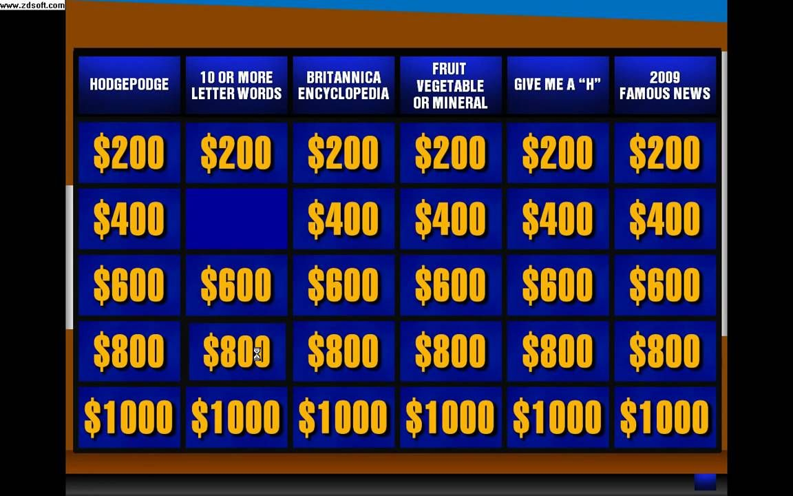 022 Jeopardy Powerpoint Template With Score 16x9 Excellent With
