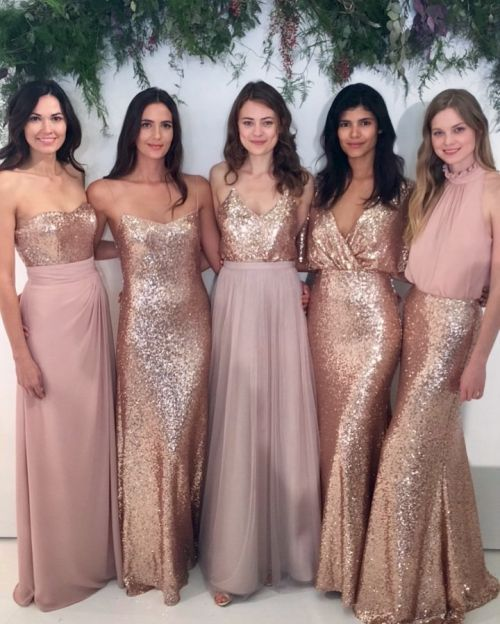 848a2aafaf82 Bella Bridesmaids -- Designer: Watters Encore // Styles: Annette Bustier/Natasha  Skirt, Lucette, Zoe Tank/Lotus Skirt, Elson, Devon Top/Celine Skirt