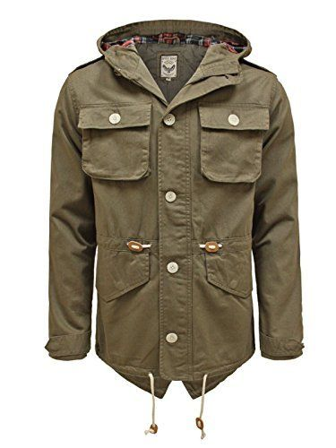 Brave Soul Mens Designer Vintage Tartan Hooded Parka Cotton ...