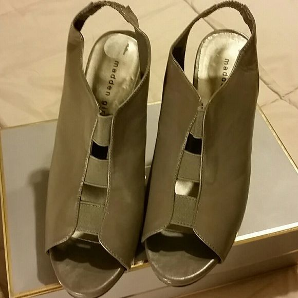 "Madden Girl Platform Shoes Gray synthetic sling with open toe and open vamp joined with elastic. 4.25"" covered heels and 1"" covered platform Shoes Heels"