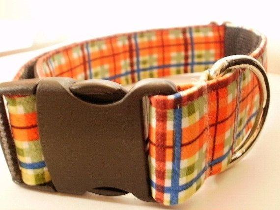 15 inch Orange Blue Green plaid dog collar by DueleysDuds on Etsy, $13.00