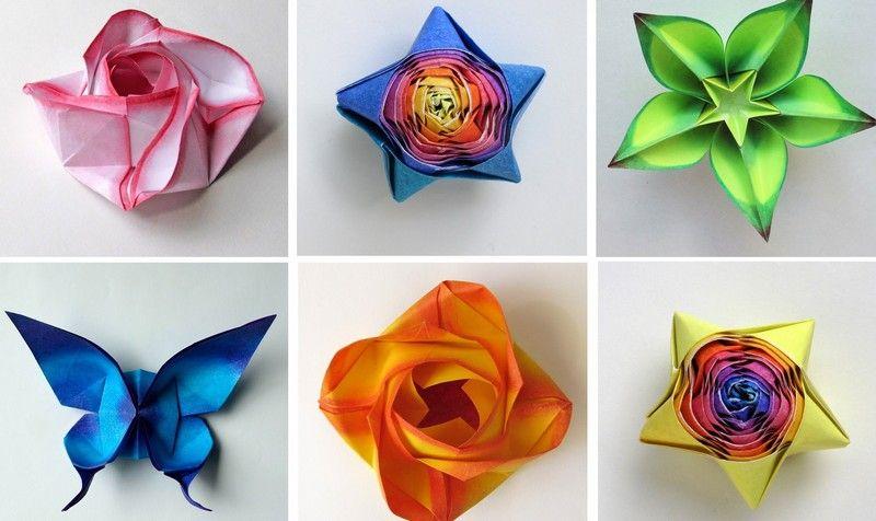 origami blumen schmetterlinge und blumen zusammenfalten origami pinterest origami. Black Bedroom Furniture Sets. Home Design Ideas
