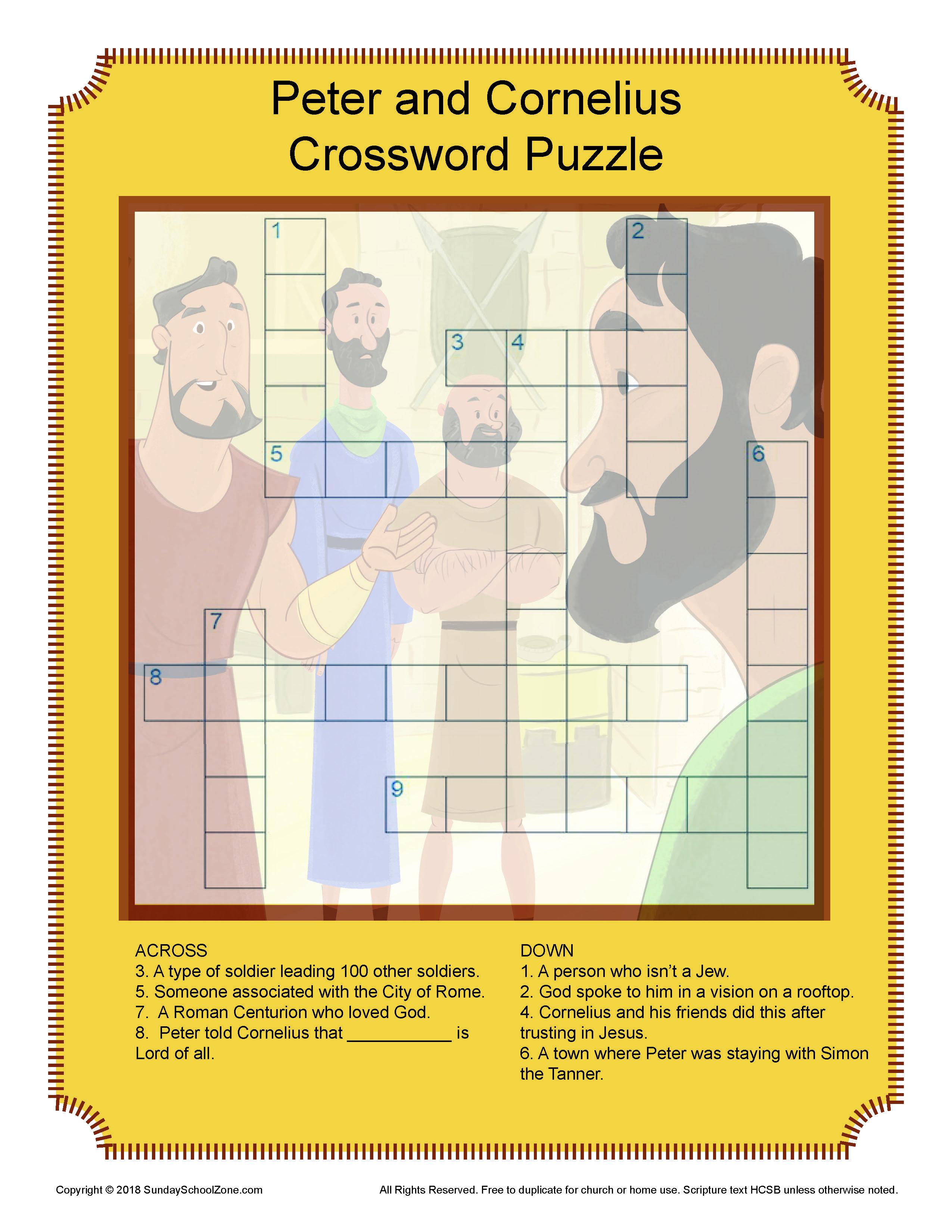 Free Peter And Cornelius Crossword Puzzle On Sunday School