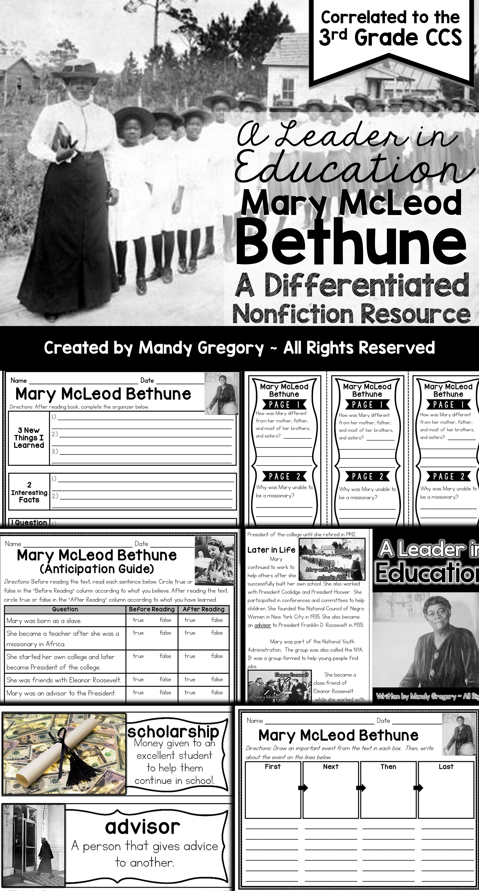 Mary Mcleod Bethune A Differentiated Nonfiction Resource