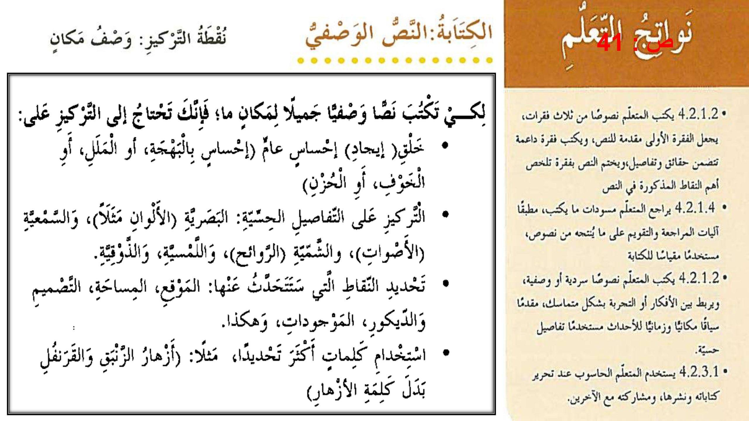 درس النص الوصفي وصف مكان مع الاجابات للصف الرابع مادة اللغة العربية Bullet Journal Journal