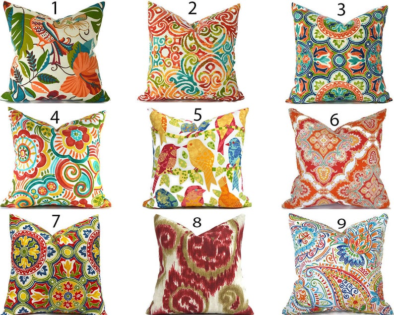 Outdoor Pillow Covers Any Size Decorative Home Decor Red Etsy In 2020 Outdoor Pillow Covers Designer Throw Pillows Outdoor Pillows
