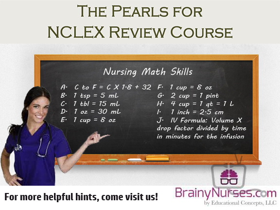 Yes...even Nurses need math skills! This list of standard conversions will be useful for every nurse for their professional use and to prepare the nursing student for the NCLEX.