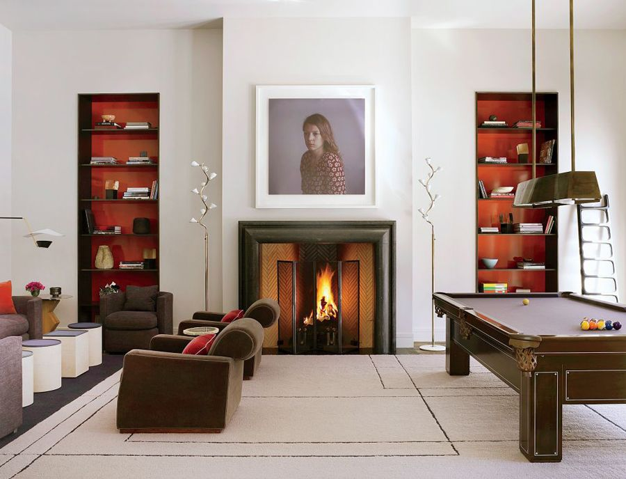 Game Rooms  # 1 A Restored Early 20Th Century Pool Table Takes Simple Pool Table Living Room Design Inspiration