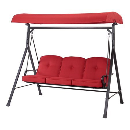 Mainstays Carson Creek Three Seat Canopy Patio Swing With Brick Red