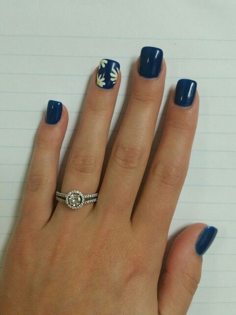 Summer Nail Design Acrylics Flower Simple Blue White Girly Pretty Classy Nail Designs Summer Acrylic Summer Nails Colors Designs Dark Blue Nails