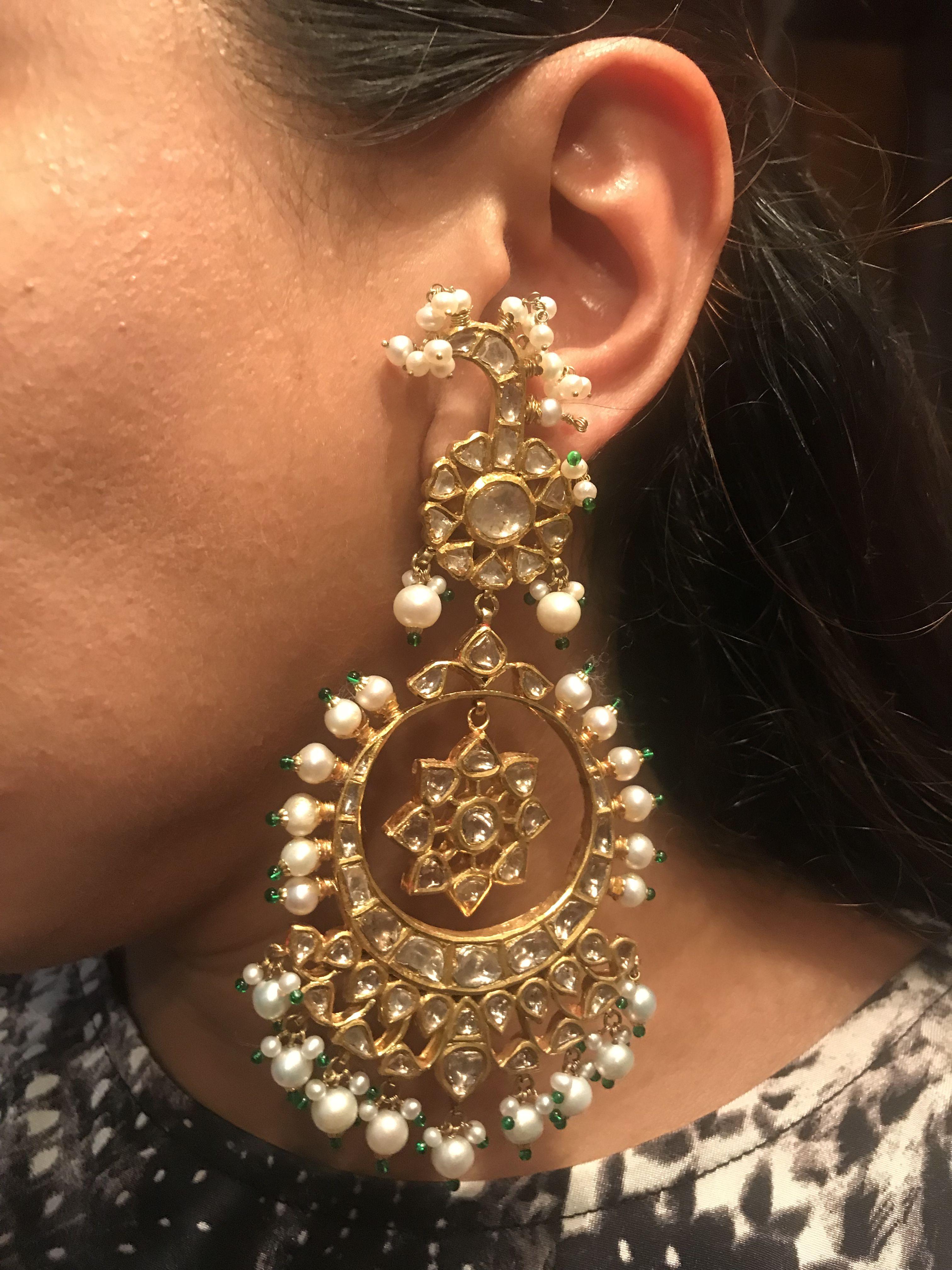Pin by Reet Bespoke jewels by Shruti on Polki earrings