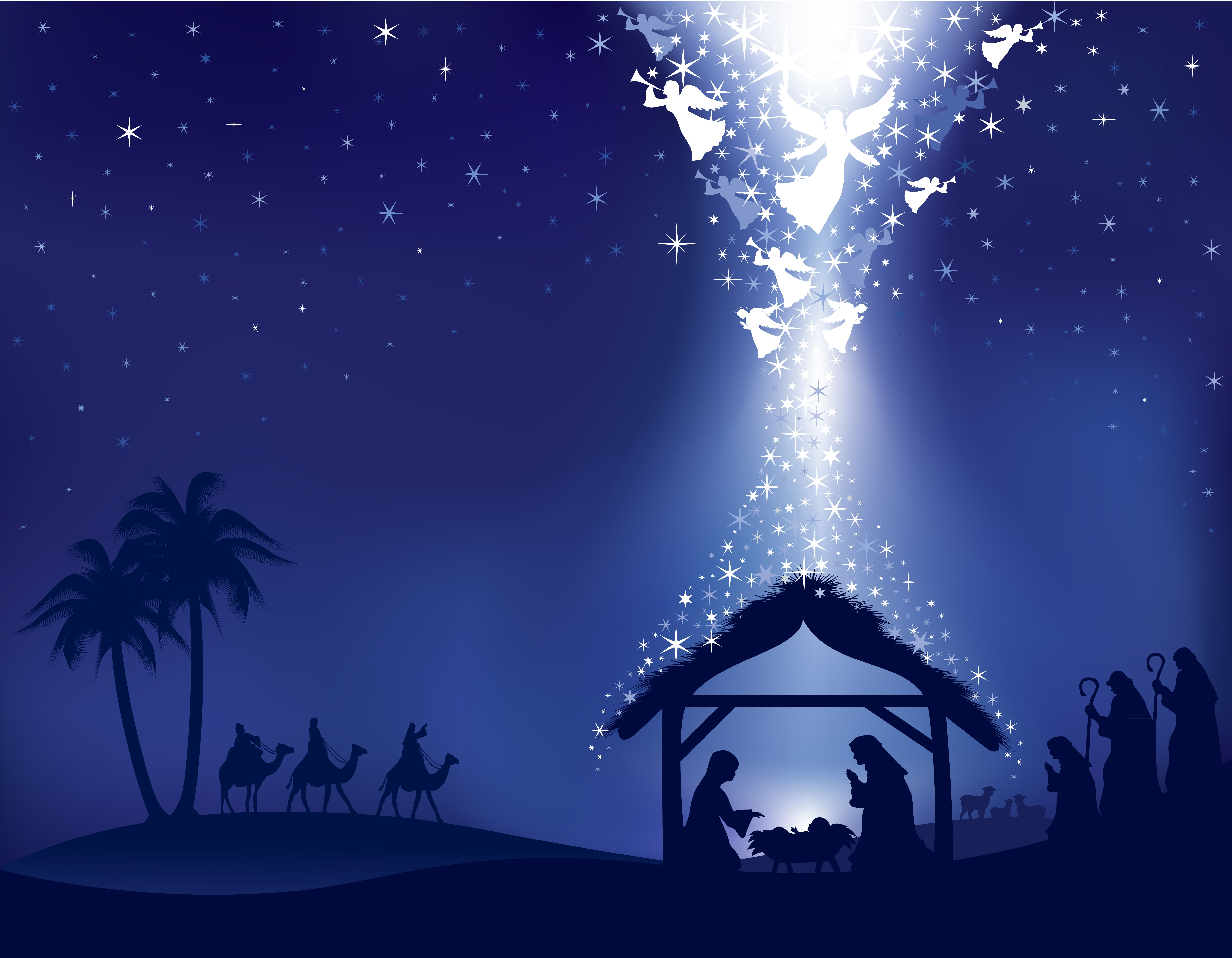 Nativity Silhouette Shades Of Blue With White Angels Desktop Wallpaper Vector With Images Christmas Scenes Merry Christmas Images Christmas Reflections