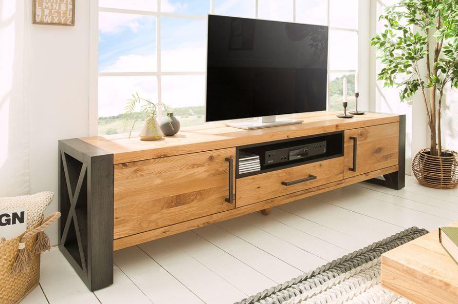 Massives Tv Board Thor 200cm Wild Eiche Geolt Lowboard Im Industrial Design Riess Ambiente De Eiche Geolt Lowboard Tv Lowboard Holz