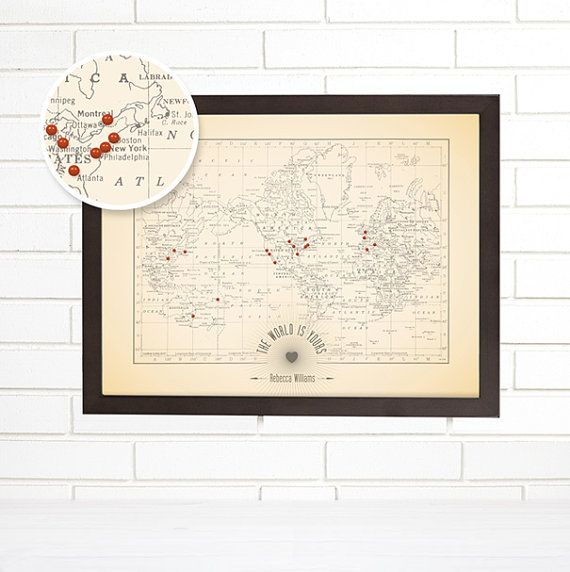 Push Pin Map Personalized World Push Pin Travel Map The World is