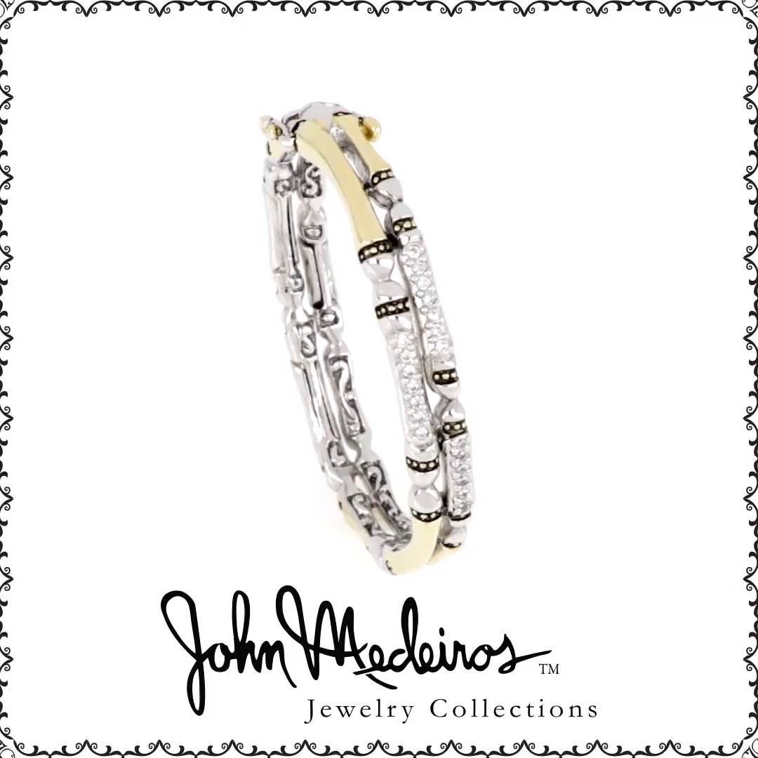 Sparkle, Sophistication, Whimsy  Canias Pavé Double Row Hinged Bracelet  FREE SHIPPING  #johnmedeirosjewelry #jewelry #giftideas #greatgifts #bracelets