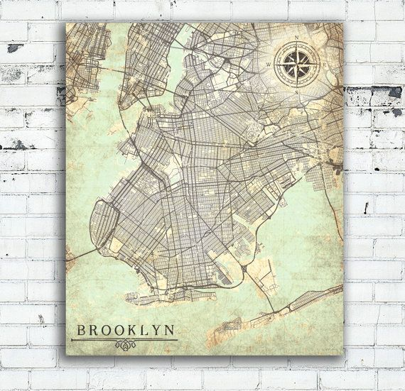 Brooklyn ny canvas print brooklyn city ny new york brooklyn vintage brooklyn ny canvas print brooklyn city ny new york brooklyn vintage map wall art poster map gumiabroncs
